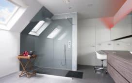 Badkamer met inloopdouche met vergrijsd glas