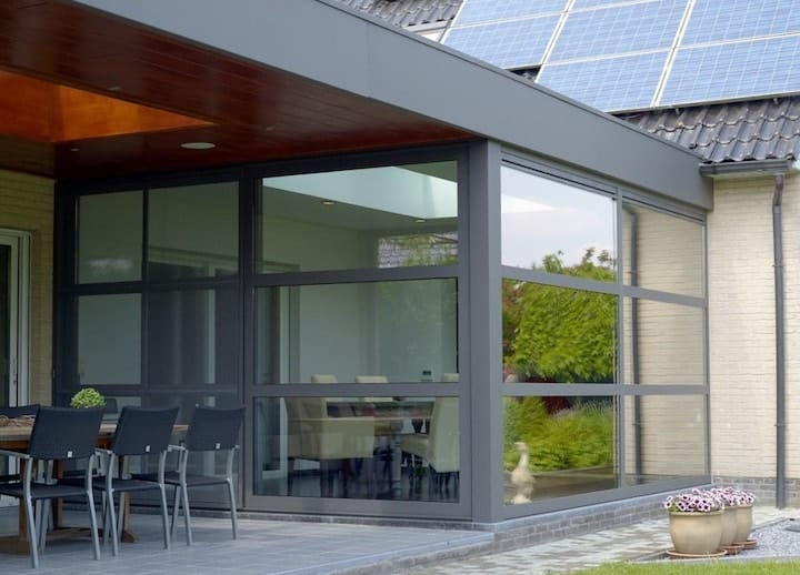Aluminium veranda met 2 dakramen
