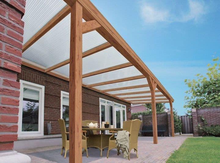 Open veranda in Aluminium met houtlook